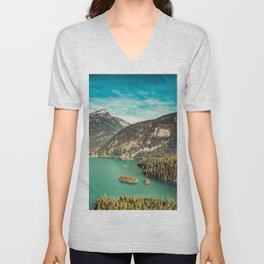 Lake Diablo - Blue and Green Water and Trees Unisex V-Neck