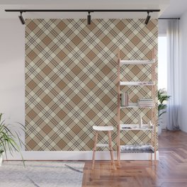 Brown and Tan Plaid Pattern Wall Mural