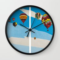 hot air balloons Wall Clocks featuring Hot Air Balloons by Shelley Chandelier