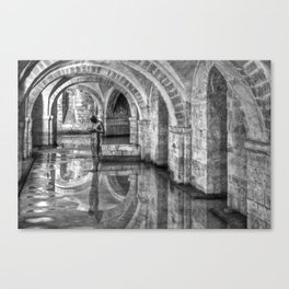 Winchester Cathedral Crypt - Black and White Canvas Print