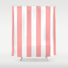 Coral Pink Stripe Vertical Shower Curtain
