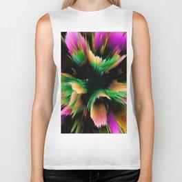 rainbow glitch flower Biker Tank