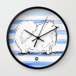 Samoyed Samuel, Lover of Stripes Wall Clock