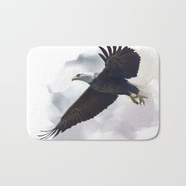 american bald eagle in flight ,watercolor painting Bath Mat