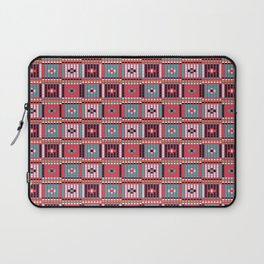 Vintage red teal white abstract beaded pattern Laptop Sleeve