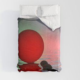red and black on water Comforters