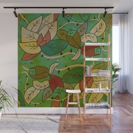 Floral, blood and thorn pattern Wall Mural