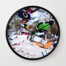 Colorful foam butterflies dangling in the air Wall Clock
