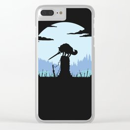 Grey Wolf Sif (Dark Souls) - in black Clear iPhone Case
