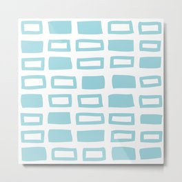 Mid Century Modern Abstract Squares Pattern 442 Light Blue Metal Print