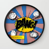 lichtenstein Wall Clocks featuring Pop Art Bang in comic Lichtenstein style by Suzanne Barber