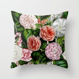 Vintage & Shabby Chic Green Large Dark Floral Camellia  Flowers Watercolor Pattern Throw Pillow