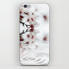 white cherry blossom and water reflection iPhone Skin