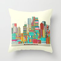 minneapolis Throw Pillows featuring Minneapolis city  by bri.buckley