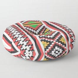 Slavic cross stitch pattern with red green orange black white Floor Pillow