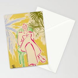 READING AMONG PALM TREES Stationery Cards
