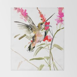 Hummingbird and Pink Flowers, sage green, olive green pink Throw Blanket