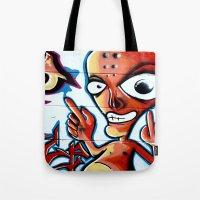 graffiti Tote Bags featuring Graffiti by Fine2art