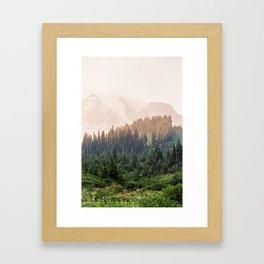 Mountain Rainier at Sunset Framed Art Print