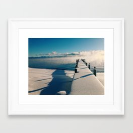 Snowy Pier Framed Art Print
