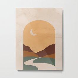 Abstract Mountain and Moon Metal Print
