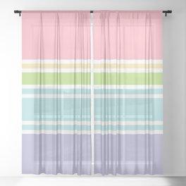 PreppyPatterns™ - Sporty Multi-stripe - peachy pink, sand, pistachio green, robin's egg blue, mist Sheer Curtain