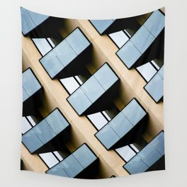 Beige and Aqua Blue Geometric Squares and Rectangles Architecture Florida Building Wall Tapestry