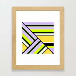 Striped , multi-colored , asymmetric combination pattern . Patchwork . Framed Art Print