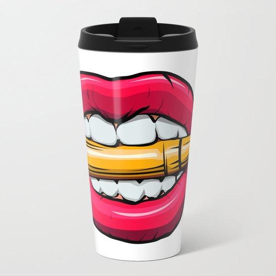 bullet in mouth. Metal Travel Mug