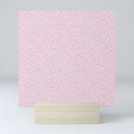 Small Flowers in Cream on Pink Mini Art Print