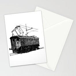 Old City Tram Carriage Detailed Illustration Stationery Cards
