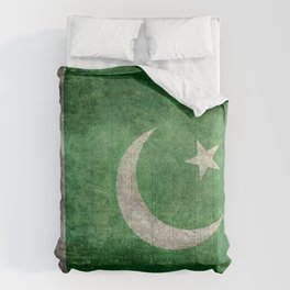 Flag of Pakistan, grungy retro style Comforters