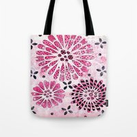 flower pattern Tote Bags featuring Flower Pattern by Judy Skowron