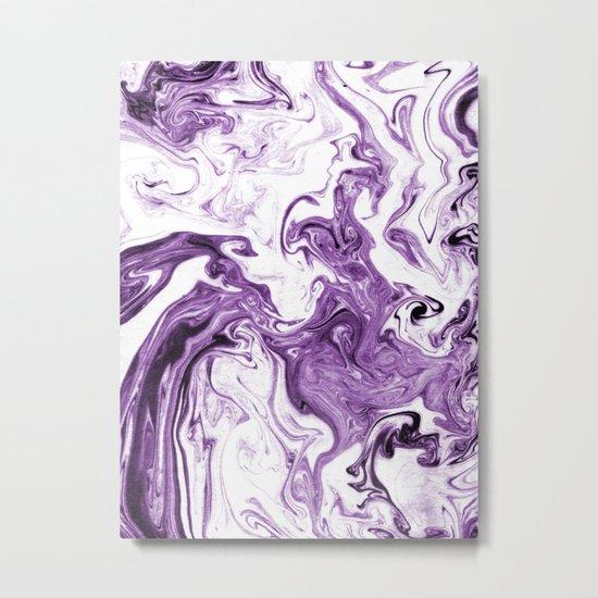 Marble Suminagashi lilac 4 watercolor pattern art pisces water wave ocean minimal design Metal Print