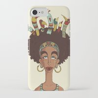 afro iPhone & iPod Cases featuring Afro Birds by Beatrice Roberti