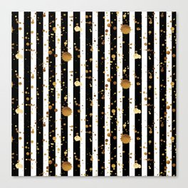 Stripes & Gold Splatter Canvas Print