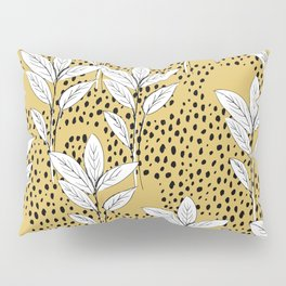 Summer leaves fall is coming garden and raindrops ochre yellow Pillow Sham