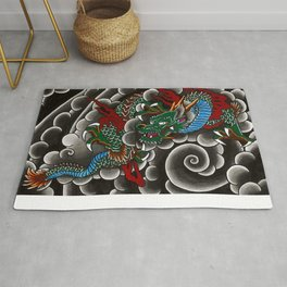 Japanese tattoo style dragon in sumi ink wash and watercolor Rug