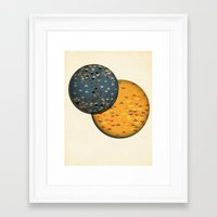 sun and moon Framed Art Prints featuring Sun &  Moon by Jonathan Knight