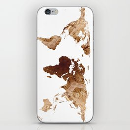World Map Silhouette - Abstract Photo-Mandala (Wh) iPhone Skin
