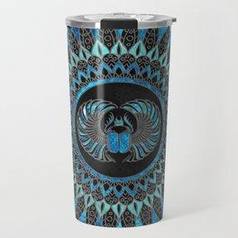 Egyptian Scarab Beetle - Gold and Blue glass Travel Mug