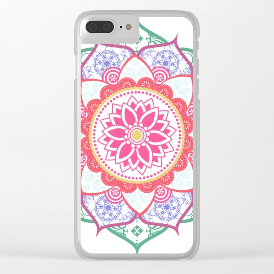 Decorative Coloured Flower Mandala Green Purple Blue Pink Clear iPhone Case