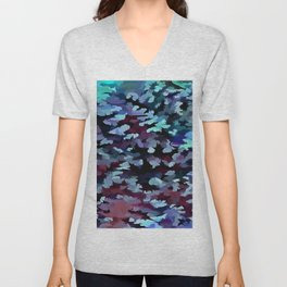 Foliage Abstract Camouflage In Aqua Blue and Black Unisex V-Neck
