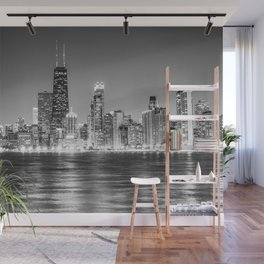 Chicago Skyline Black and White Wall Mural