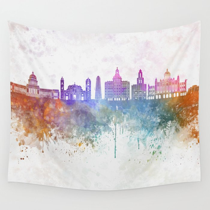 f6a8d6651f1 Havana V2 skyline in watercolor background Wall Tapestry by paulrommer