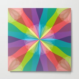 Squared Pinwheel of Bright Crayon Colors Metal Print