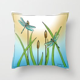 Dragonflies Fly Throw Pillow
