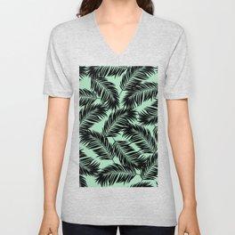 Palm Frond Tropical Décor Leaf Pattern Black on Mint Green Unisex V-Neck