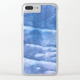 Steel blue clouded wash drawing paper Clear iPhone Case