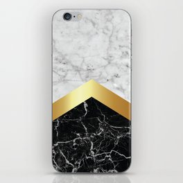 Arrows - White Marble, Gold & Black Granite #147 iPhone Skin